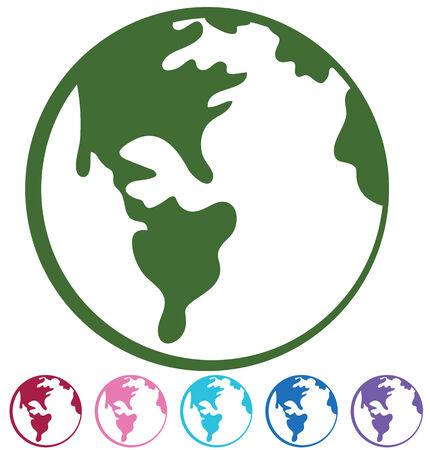 wereldbol groen: aarde teken set geïsoleerd op een witte achtergrond. Stock Illustratie