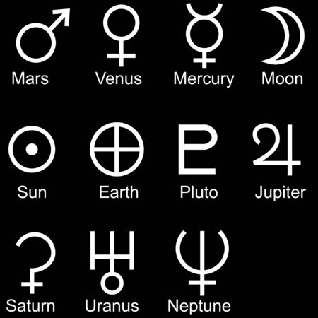 planetary sign icon set isolated on a black background. Vettoriali
