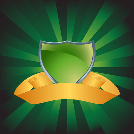 Green Energy Shield vector based image on green background.