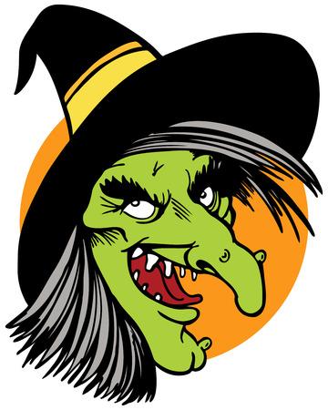 czarownica: twarz szkarłacica wyizolowanych na białym tle.