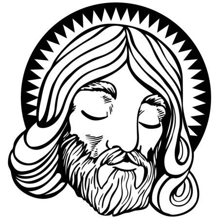 白で隔離される漫画のスタイルでハローとイエスの顔。
