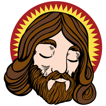 jesus face: Face of Jesus with halo in a cartoon style isolated on white.