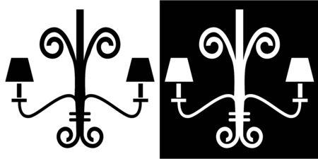 Iron rod chandelier icon isolated on white background.