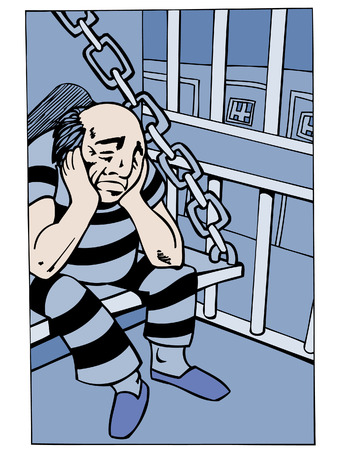 Caricatura de prisionero aislado en un fondo blanco.
