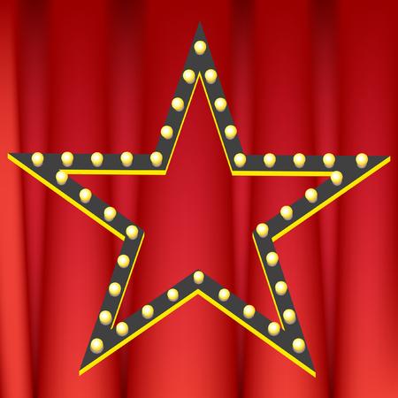 스타 어워드 빨간 커튼 배경 이미지.