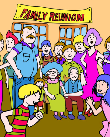 cousin: family reunion cartoon hand drawn illustration image. Illustration