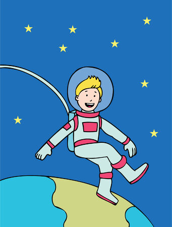 floating: astronaut cartoon of a man floating above the Eartth. Illustration