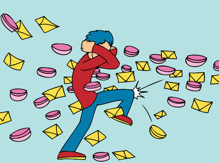 Spam cartoon of a man being hit by junk messages. Vector