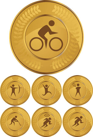 Cycling Gold Coin Set isolated on a white background.