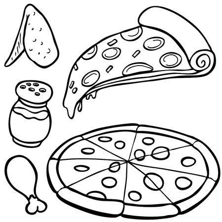 피자 음식 항목 라인 아트 흰색 배경에 고립.