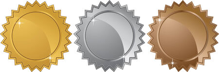 silver medal: metal stars isolated on a white background.