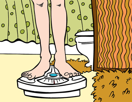 Bathroom scale cartoon in a hand drawn style. Vectores