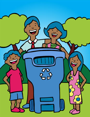 recycling: recycling bin family ethnic in a hand drawn style. Illustration