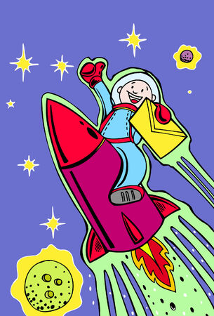 rocket mail cartoon in a hand drawn style. Stock Illustratie