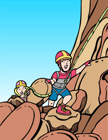 Rock Climbers in a hand drawn cartoon style. Vector