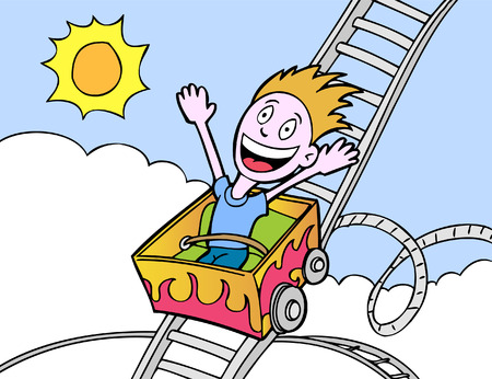 rollercoaster boy in a hand drawn cartoon style. Illustration