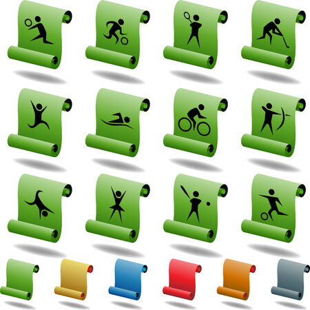 Sports Scroll Icons isolated on a white background. Vector