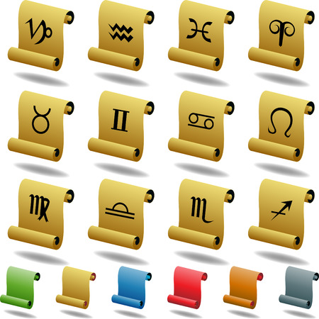 Zodiac Scroll Buttons isolated on a white background. Vector