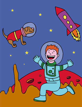 Space Boy Dog in a hand drawn cartoon style. Vector