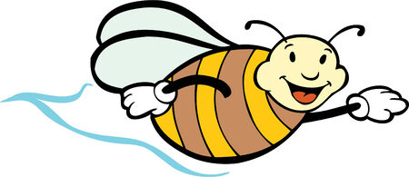 graphic illustration: flying bee isolated on a white background. Illustration