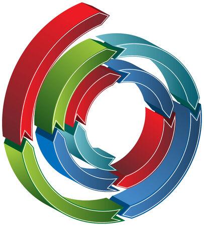 Spirale 3D Pfeiltasten auf einem weißen Hintergrund isoliert. Standard-Bild - 5673309