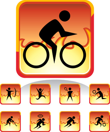 fire sport set isolated on a white background. Vector
