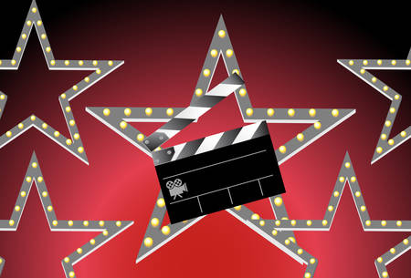 clapboard background with glowing red background image.