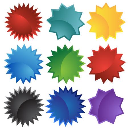 starbursts: brote estelar definir colores de aislado en un fondo blanco.