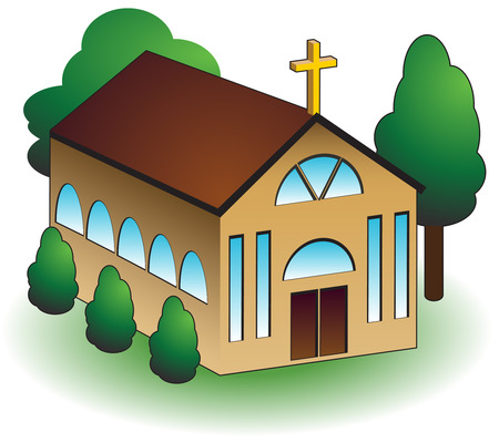 church 3d: Church building with trees isolated on a white background.