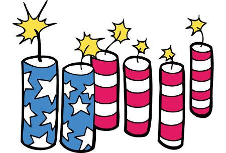 american flag fireworks: Fireworks Flag isolated on a white background. Illustration