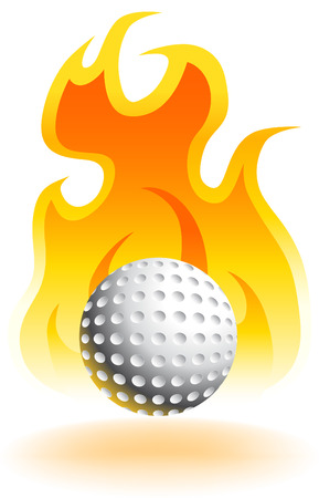 Hot Golf Ball isolated on a white background.