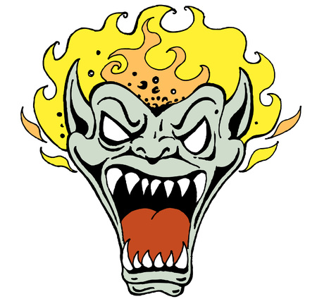 悪魔の顔が白い背景上に分離されて。