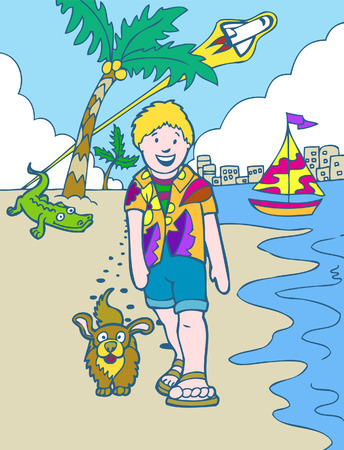 dog walking: florida trip in a hand drawn cartoon style. Illustration