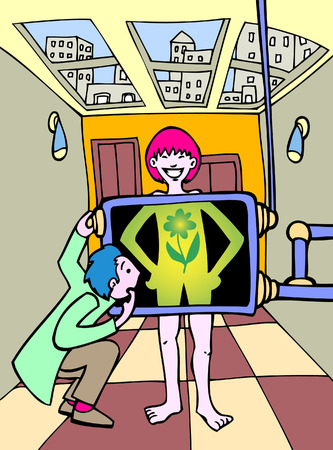 examining: Green Energy Woman in a hand drawn cartoon style.