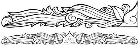 Decoratieve Border lijntekeningen geïsoleerd op witte achtergrond.