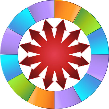 segmented: Colorful Arrow Wheel isolated on a white background.