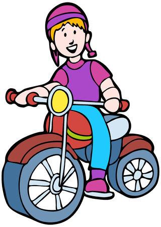 키즈 타고 오토바이 흰색 배경에 고립.