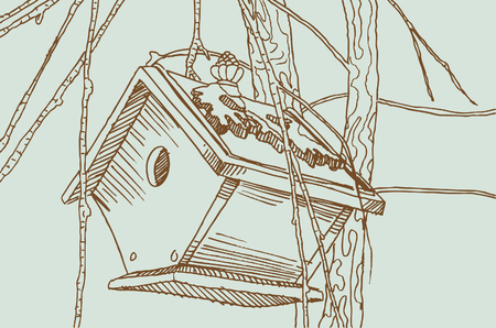 brown: Birdhouse drawing in brown and green colors. Illustration