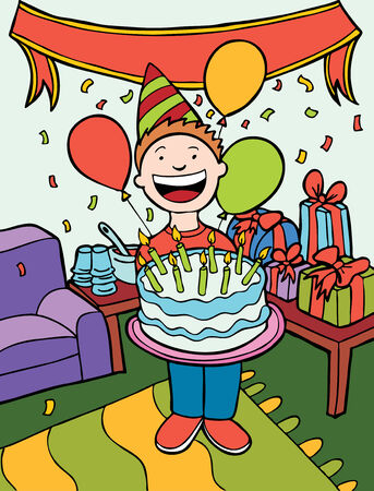 Birthday Party Time Art isolated in a hand drawn cartoon style. Illustration