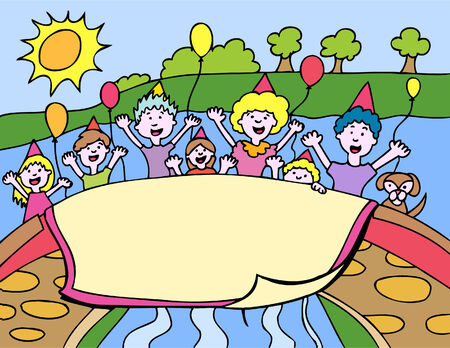 Park party in a hand drawn cartoon style. Vector