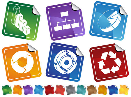 Business Chart Sticker Set isolated on a white background. Illustration