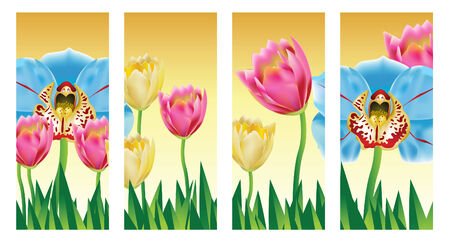 panels: Tulip Orchid Flowers in a set of vertical panels.