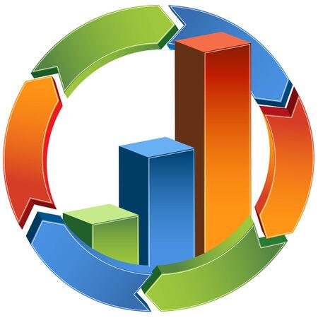 graficos de barras: Bar Chart de flecha aislado en un fondo blanco.  Vectores
