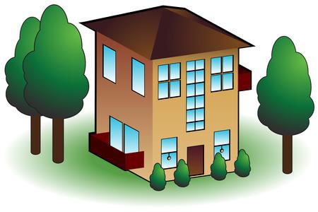 Townhouse pictogram geïsoleerd op een witte achtergrond. Stock Illustratie