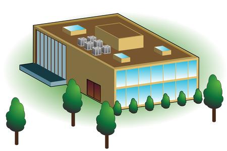 Bedrijfs gebouw geïsoleerd op een witte achtergrond.