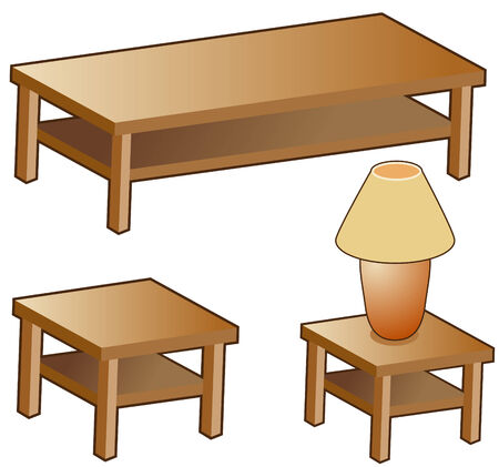 end: Living room furniture isolated on a white background. Illustration