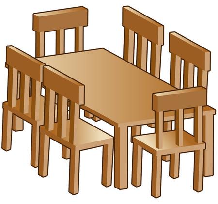 mesa de comedor: Mesa de comedor aislado en un fondo blanco.  Vectores