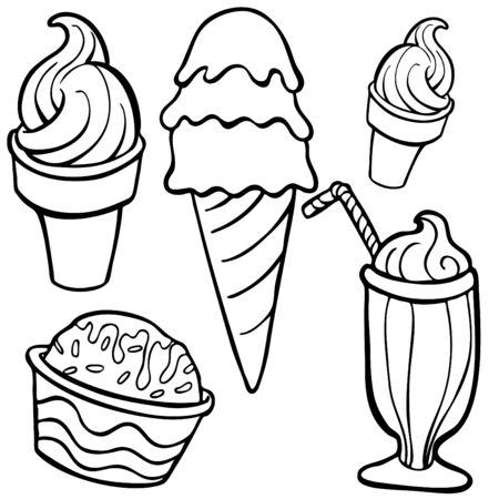 아이스크림 음식 항목 라인 아트 흰색 배경에 고립.
