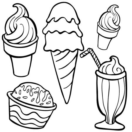 ice: ice cream Food Items line art isolated on a white background. Illustration