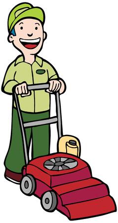 lawn: Lawnmower Gardener geïsoleerd op een witte achtergrond. Stock Illustratie